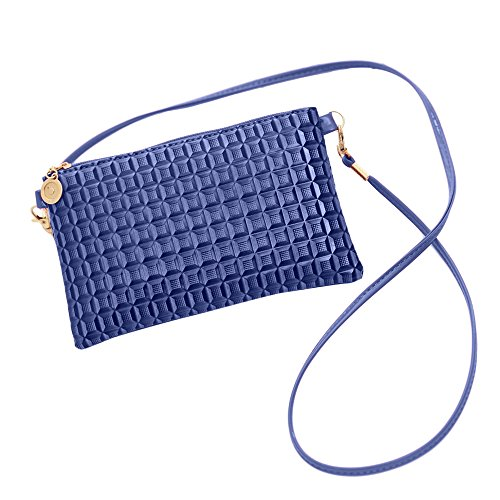 Plus Nao(プラスナオ) お財布ポシェット ショルダーバッグ 斜めがけ ミニショルダーバッグ スマホケース パスポートケース ミニバッグ フェ 大 ブルー