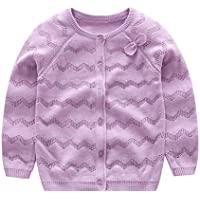 LOSORN ZPY Baby Girls Knitting Cardigan Kids Cotton Button up Sweater Spring Autumn 2-6Years