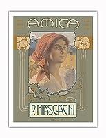 アミカ - イタリア語オペラ - 作曲家 Pietro Mascagni - ビンテージな広告ポスター によって作成された レオポルド・メトリコヴィッツ c.1905 - アートポスター - 51cm x 66cm
