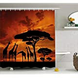 (180cm W By 180cm L, Multi 11) - Wildlife Decor XINGAKA by XINGAKA, Safari with Giraffe Crew with Majestic Tree at Sunrise in Kenya, Fabric Bathroom Decor Set with Hooks, 180cm, Burnt Orange Black