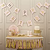 Ginger Ray Pastel Perfection and Gold Foiled Happy Birthday Bunting Banner, Pink (PP-616)