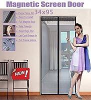 """FitLife マグネットスクリーンドア フルフレーム ベルクロ 高耐久メッシュが高いドアにフィットします サイズは最大で34""""x95"""" です 36''x96'' - Fits doors up to 34''x95'' Max TFL-ScreenDoor-Black"""