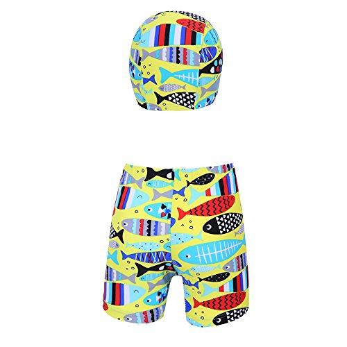 HYSENM 子供 水着 男の子 ボーイ パンツとキャップのセット 魚柄 プール 水泳 水遊び 海 浜辺 夏 3-9歳五つサイズあり L(110-120cm) イエロー