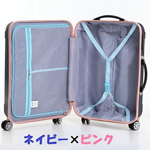 (ムーク)M∞K 超軽量スーツケース TSAロック付き 機内持ち込みSサイズ~Lサイズ (Sサイズ,ネイビー)