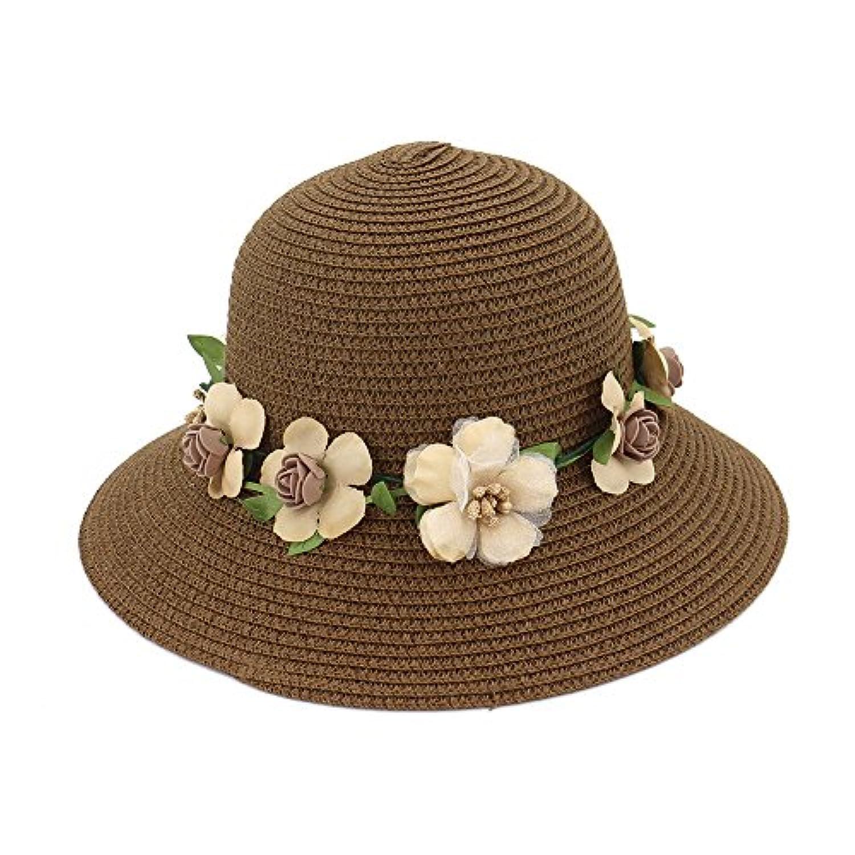 Ruiyue 夏のストロー帽子、新しい夏の花の花のヘッドバンドちょう結びのビーチ広い吹き出しフロッピーバケツ女の子のためのストロー帽子 (色 : Brown)