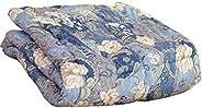 タンスのゲン 日本製 洗える 肌掛け布団 シングルロング 帝人 ウォシュロン綿 ピーチスキン加工 7110柄ブルー 10119097 04