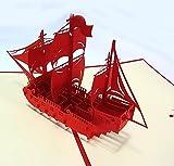 3D 立体 ポップアップ グリーティングカード 結婚祝い 誕生日 バレンタインデー ホワイトデー クリスマス ギフト おすすめ 飛び出す招待状 (戦う帆船)