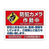防犯カメラ作動中防犯と安全(イラスト入)H300mm×400mm AP板