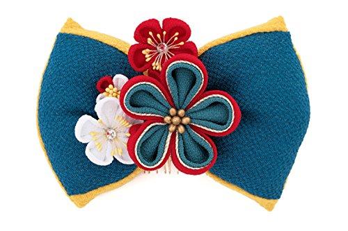 (ソウビエン) 髪飾り 成人式 卒業式 青 ブルー 赤 黄色 梅 花 リボン ラインストーン 縮緬 つまみ細工 コーム 髪留め 卒業式 袴 ヘアアクセサリー
