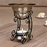 AUCH Vintage Bronze Metal Tealight Candle Holder with Tawny Glass Fragrant Oil Warmer Great Gift Item