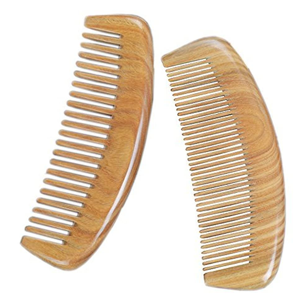 LiveZone Handmade Natural Green Sandalwood 2-Count(Minute Tooth and Wide Tooth Wood Comb) Hair Comb with Natural...