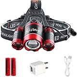 LED Headlamp, Loyalfire 3 Headlamp XML-T6 6000 Lumens 4 Modes Rotary Zoomable Waterproof Headlight Flashlight with Powered Battery USB Rechargeable, for Camping/Hiking/Travel/Reading