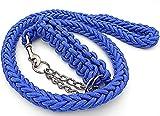 大型犬 極太 編上げ リード 編込み ロープ 首輪 散歩 しつけ トレーニング ペット 用品 犬 (青)