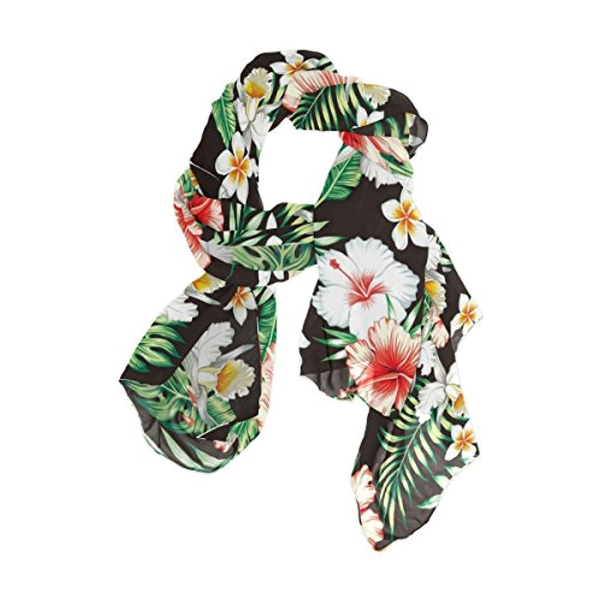 狂乱塊アプライアンスユサキ(USAKI) ストール レディース 春夏 大判 UVカット 冷房対策 スカーフ シルク 肌触り ショール パーティー 90×180cm 熱帯 花柄