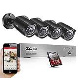 Best ZOSIカメラ - ZOSI 200万画素防犯カメラセット HDDレコーダー+防犯カメラ4台 高画質 暗視 遠隔監視 モーション録画 HDD1TB付き Review
