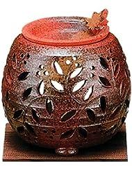 常滑焼?石龍窯 カ38-12 茶香炉 タデ花 焼杉板付 約φ11×11cm