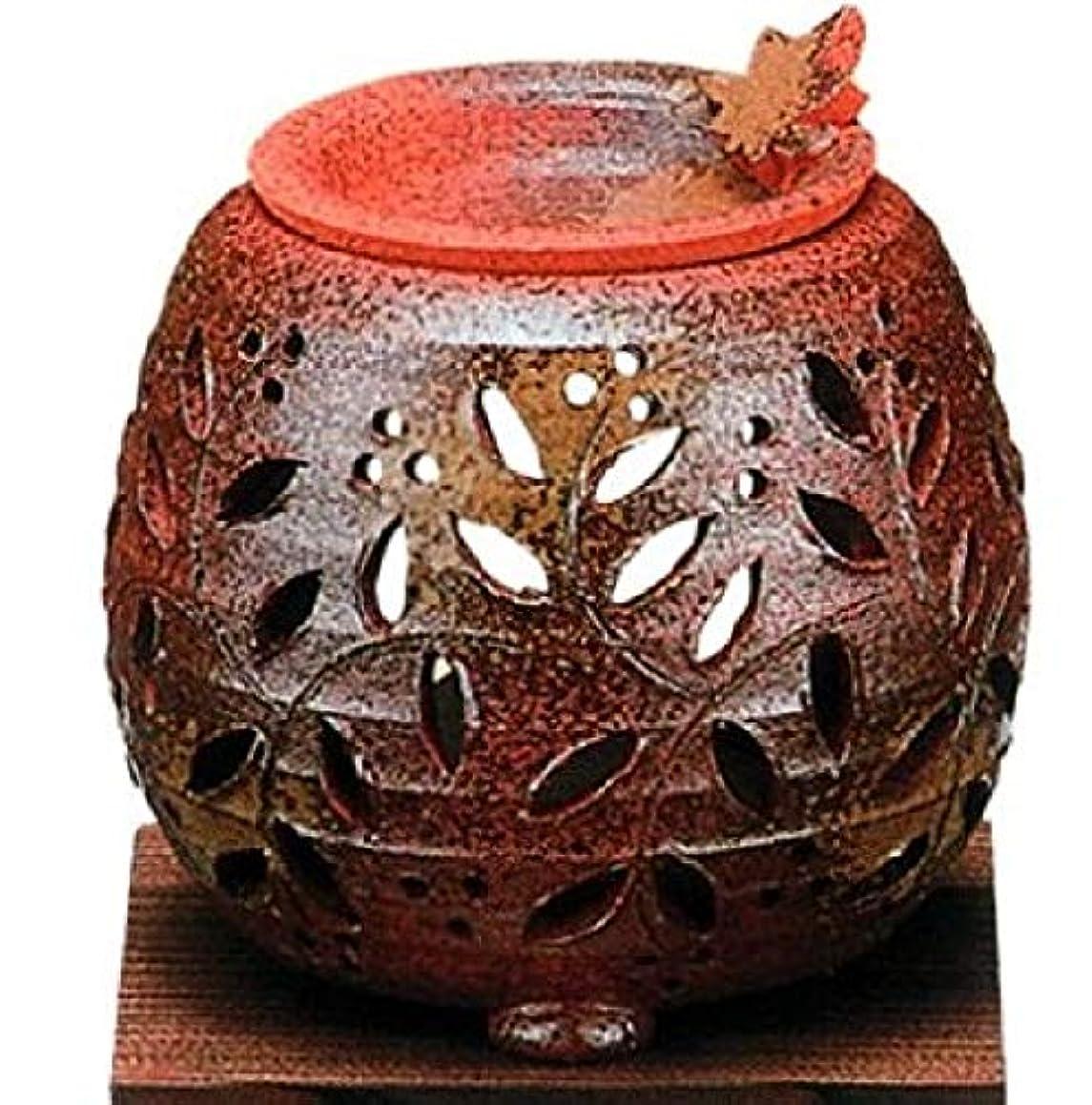 パーツボイコット激しい常滑焼?石龍窯 カ38-12 茶香炉 タデ花 焼杉板付 約φ11×11cm
