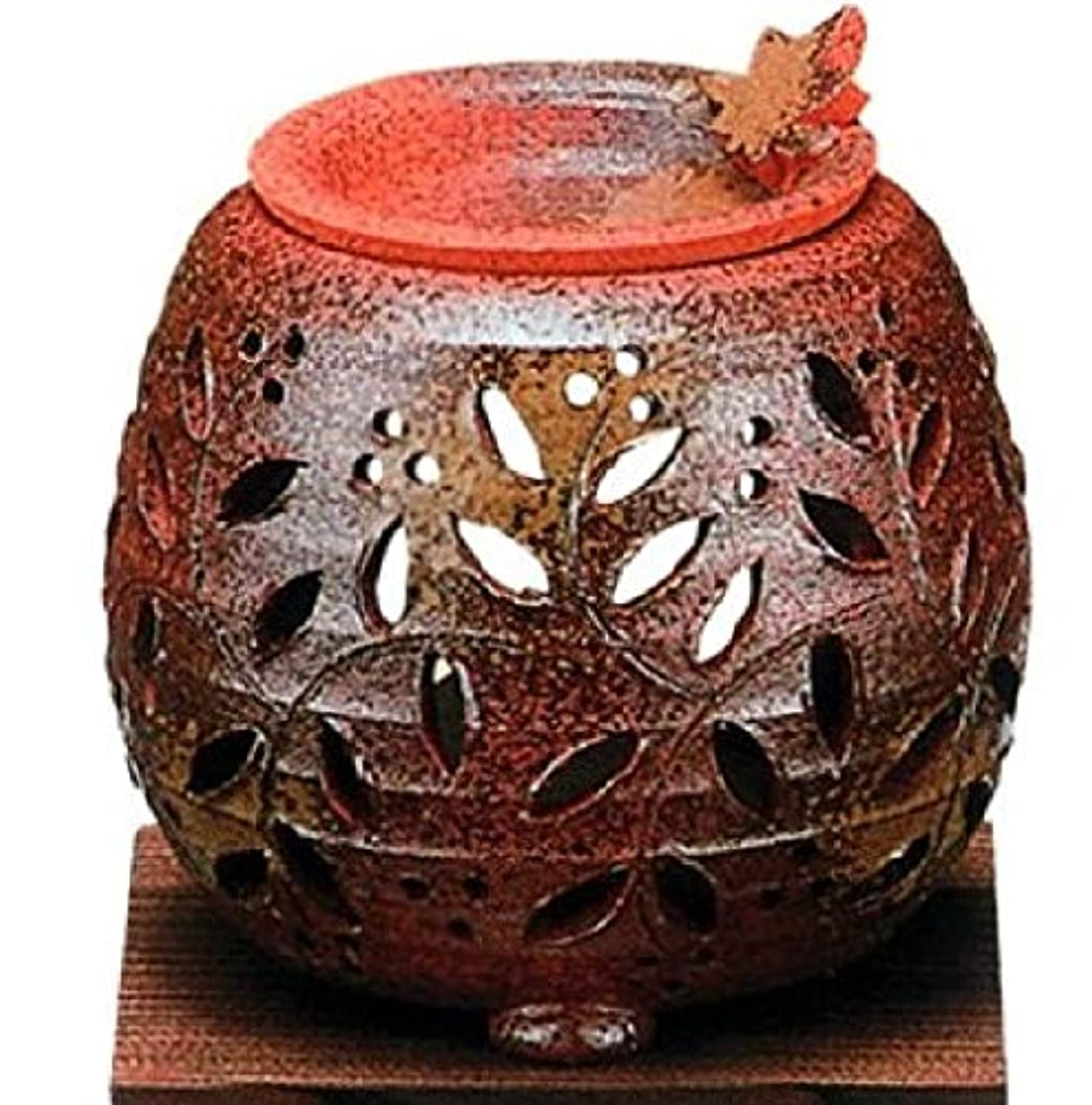 理解従事した手荷物常滑焼?石龍窯 カ38-12 茶香炉 タデ花 焼杉板付 約φ11×11cm