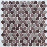ヘキサゴン(六角)モザイク 604伽羅ミックス【アウトレットタイル】