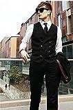 メンズ ベスト ダブル ボタン 黒 灰 シンプル ビジネス スーツ (L)