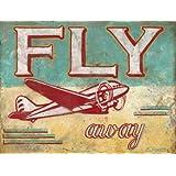 Fly Away Metal Sign Airplane Den Decor Children's Room Decor Vintage Decor by OMSC