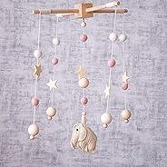 Okawari Home 床枕 木制 莫代爾 鉤針編織 可愛象 白色 羊毛氈 搖曳玩具 木玩具 寶寶 初次玩具 嬰兒 生日禮物 出生賀禮