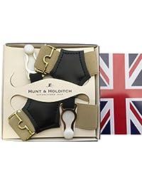 (ハントアンドホールディッチ) Hunt&Holditch ソックサスペンダー ソックスガーター ソックス止め 紳士用 メンズ 英国製 殿方用靴下吊 伸縮素材 Beige ベージュ B349