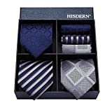 ビジネス 紺 ネクタイ 3本セット[ (ヒスデン) HISDERN ] おしゃれ 結婚式 青 ネクタイ ハンカチ フォーマル ネクタイ ブランド プレゼント メンズ ネクタイ 洗える