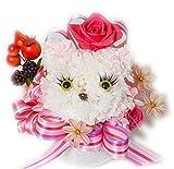 カーネーションの大輪プリザーブドフラワーで作った猫と高級造花アーティフィシャルフラワー 猫 ねこ クリアボックス付き 花 誕生日 プレゼント フラワーアレンジ フラワーギフト 結婚祝い アレンジメント 御祝い (白ネコちゃん)