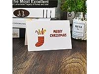 FenBuGu-JP 1 Pcクリスマスグリーティングカードクリスマスバレスカード封筒招待状カードギフトカード(靴下)