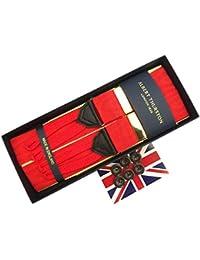 (アルバートサーストン) ALBERT THURSTON サスペンダー ブレイス Y型 Yバック Braces メンズ 紳士 ボタン止め 英国製 モアレブレイス Moire Red GD レッド 赤 B106