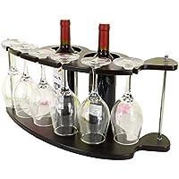 DEWEL ワインホルダー ワインラック ワイングラスラック ワイン棚 グラス ハンガー ホルダー 吊り下げ式 創意的 木製 ブラック オシャレ 収納 スタンド インテリアレトロ ワイン2本 ワイングラス6本 収納用
