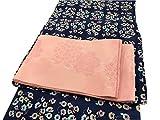女性用 選べる ゆかた 変わり織り 高級浴衣セット 4点セット(ゆかた・半巾帯・巾着・帯飾り) (小花柄(青))