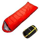 洗濯OK monterosa 封筒型 寝袋 シュラフ 耐寒温度最大 -15℃ 赤 黒 (赤 レッド)