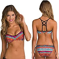 Women 2pcs Swimwear Bandage Bra Thong Bikini Set Push-up Padded Bathing Swimsuit