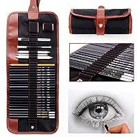 18個のペンの炭のスケッチのセットスケッチの鉛筆のセット鉛筆のセットの消しゴムの工芸ナイフの鉛筆のエクステンダーのロールアップキャンバスキャリーポーチプロアートサプライ初心者のためのアーティスト