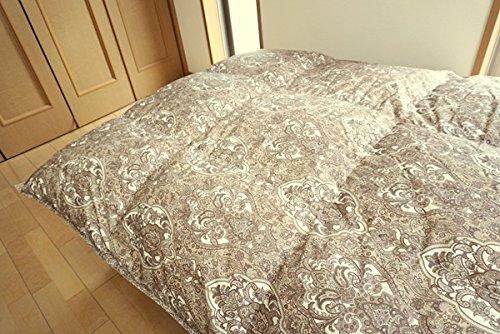 西川リビング 羽毛布団 ダブル ブラウン ホワイトダウン 85% 日本製 バイオアップ加工 (ダブル, ブラウン)