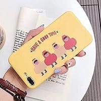 SDFNXCM 携帯ケースIphone 6のための漫画の電話箱Iphone X 6S 7のための8プラス超薄い柔らかいTpuの裏表紙の美しい黄色の手紙の箱、様式1、Iphone 7のため