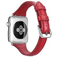 Harpi レザーブレスレットウォッチバンドストラップ Apple Watch Series 4 40mm/44mm用 交換用リストバンド 40mm レッド