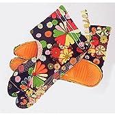 【ノーブランド品】 カラフル祭り足袋(黒地・菊柄)-踊り地下足袋 24.5cm