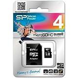 シリコンパワー micro SDHCカード 4GB (Class4) 永久保証 (SDHCアダプター付) SP004GBSTH004V10