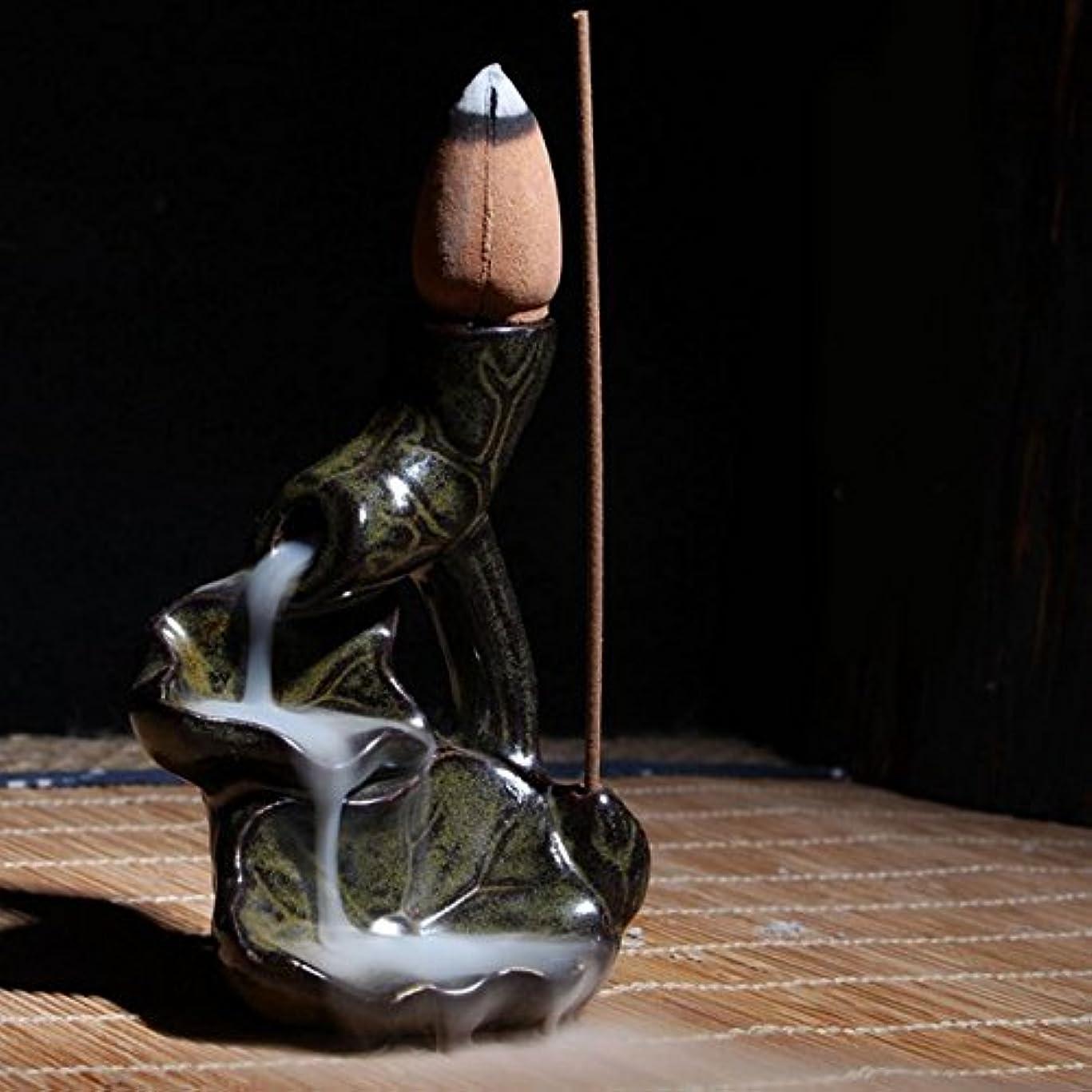 選択ナビゲーションジーンズ香炉ホルダー – 1 Piece Water LilyセラミックGlaze逆流香炉ホルダーコーン香立てホーム