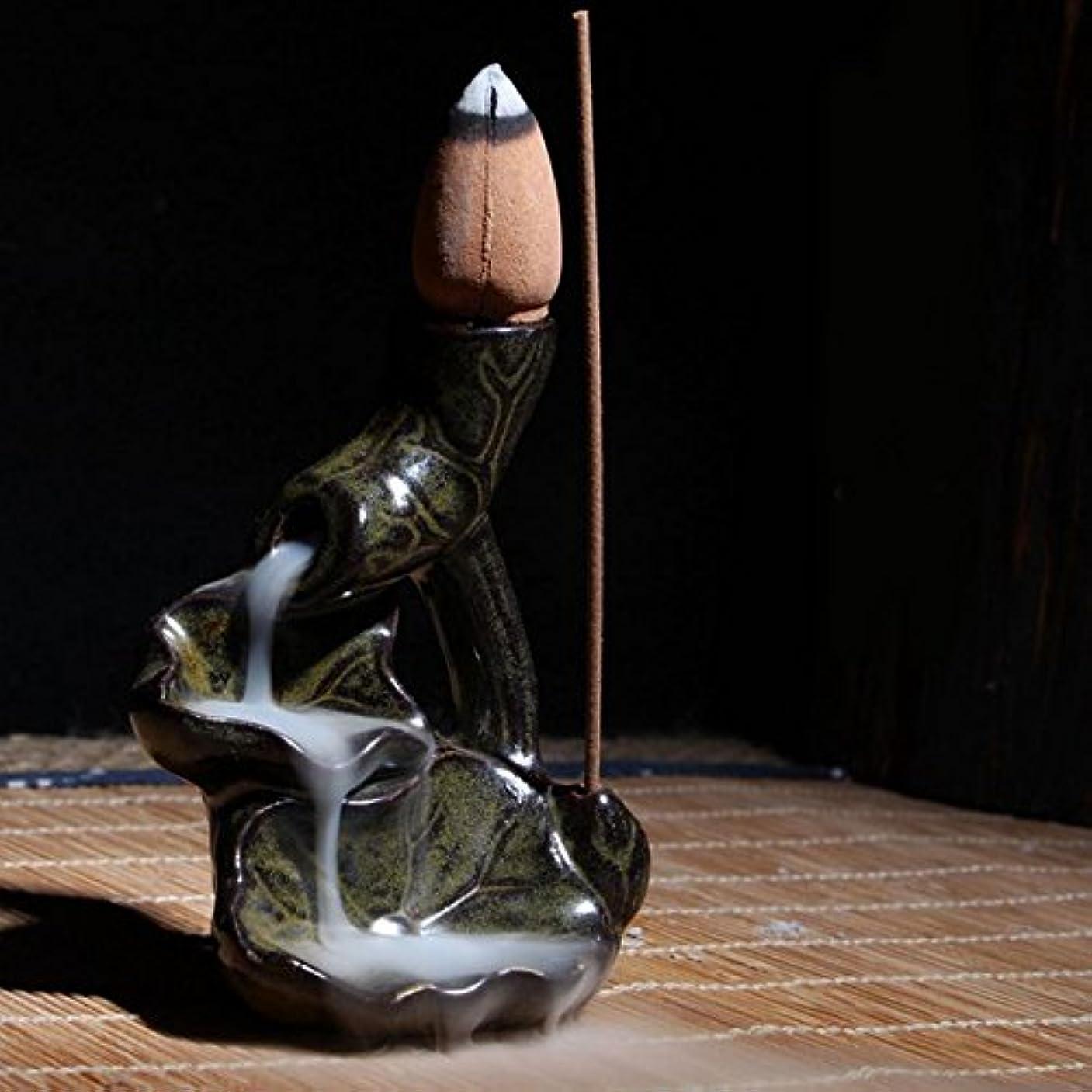 汚染腰節約香炉ホルダー – 1 Piece Water LilyセラミックGlaze逆流香炉ホルダーコーン香立てホーム