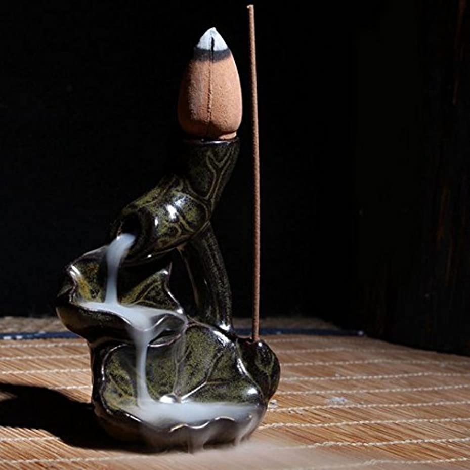 スペード重なる目に見える香炉ホルダー – 1 Piece Water LilyセラミックGlaze逆流香炉ホルダーコーン香立てホーム