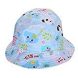 PUERI キッズハット 日よけ帽 バイザー キャップ 動物プリント 可愛いい 調整でき リボン付き 女の子 夏 (S)