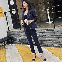XuBa Fashion Dark Blue Striped Pant Suits for Women V-Neck Blazer Jacket & Pencil Pants 2 Pieces Set Work Business Suit 2018
