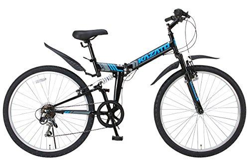 KAZATO(カザト)26インチシマノ6段変速スチール製 折りたたみ自転車 マウンテンバイク MKZ-266 ブラック