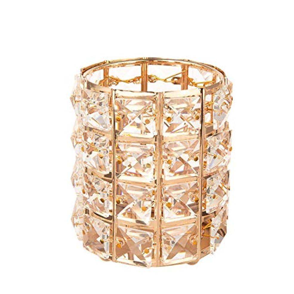 サポートストレスの多い松の木Feyarl メイクブラシケース ブラシスタンド クリスタルブラシホルダー 化粧ブラシホルダー 円筒型 ペン立て ゴールド