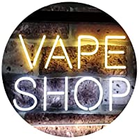 Vape Shop Indoor Display Dual LED看板 ネオンプレート サイン 標識 White & Yellow 400 x 300 mm st6s43-i3018-wy
