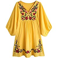 Doballa Women's Floral Embroidery Mexican Tunic Top Bohemian Flowy Shift Mini Blouse Dress